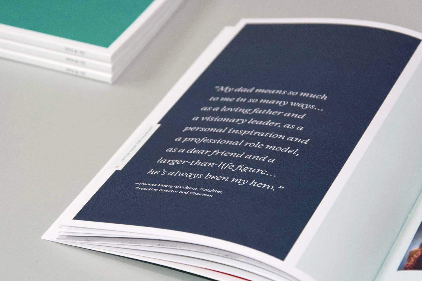 Moody Foundation Annual Report interior quote detail